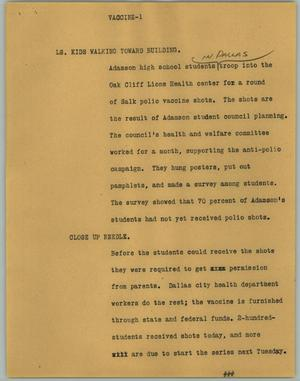 Primary view of object titled '[News Script: Vaccine]'.
