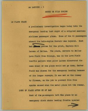 Primary view of object titled '[News Script: AA Landing]'.