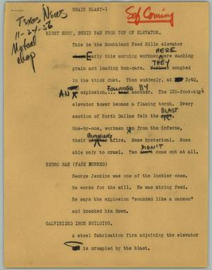 Primary view of object titled '[News Script: Grain Blast]'.