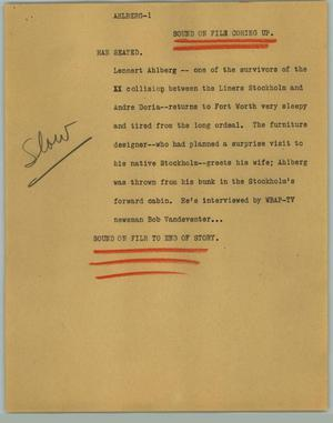 Primary view of object titled '[News Script: Ahlberg]'.