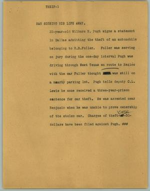 Primary view of object titled '[News Script: Thief]'.