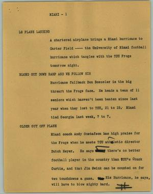 Primary view of object titled '[News Script: Miami]'.