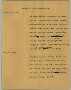 Primary view of object titled '[News Script: New Menasco Plant Holds Open House]'.