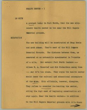 Primary view of object titled '[News Script: Health Center]'.