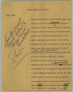 Primary view of object titled '[News Script: Gunman Talked Out of House]'.