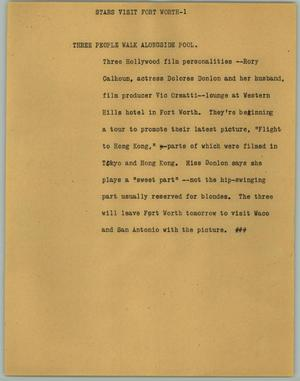 Primary view of object titled '[News Script: Stars Visit Fort Worth]'.