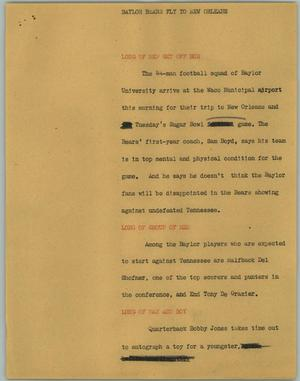 Primary view of object titled '[News Script: Baylor Bears Fly to New Orleans]'.