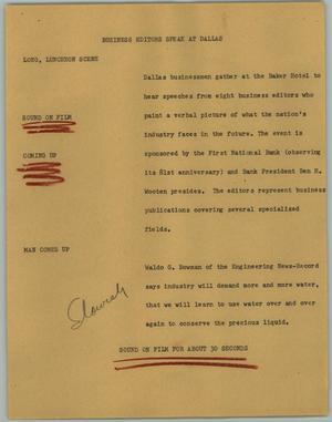 Primary view of object titled '[News Script: Business Editors Speak at Dallas]'.