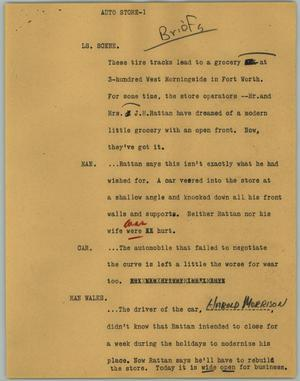 Primary view of object titled '[News Script: Auto Store]'.