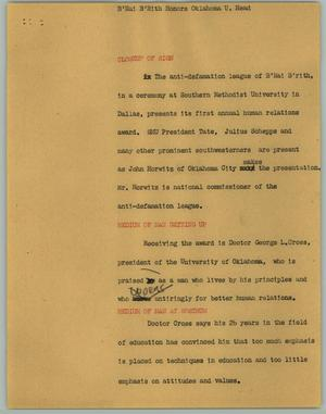 Primary view of object titled '[News Script: B'Nai B'Rith Honors Oklahoma U. Head]'.