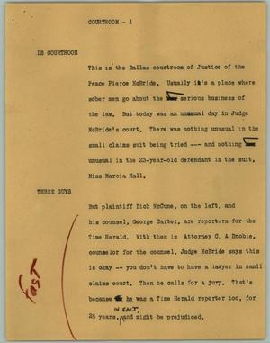 Primary view of object titled '[News Script: Courtroom]'.