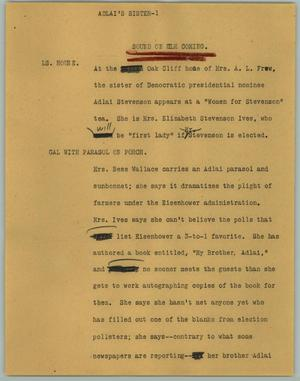 Primary view of object titled '[News Script: Adlai's Sister]'.