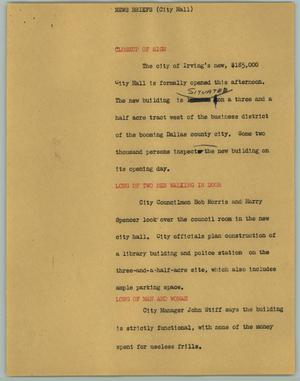 Primary view of object titled '[News Script: News Briefs (City Hall)]'.