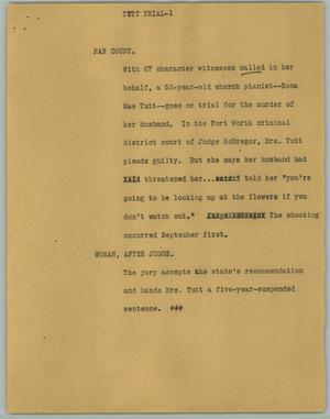 Primary view of object titled '[News Script: Tutt Trial]'.