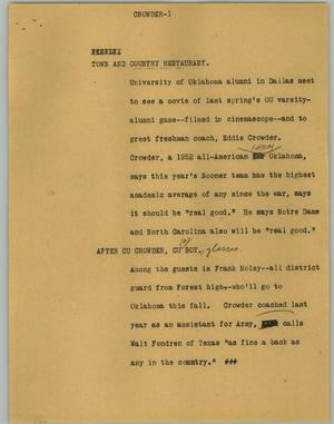 Primary view of object titled '[News Script: Crowder]'.
