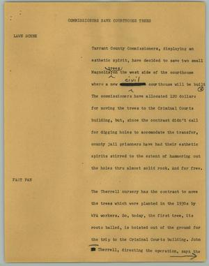 Primary view of object titled '[News Script: Commissioners Save Courthouse Trees]'.