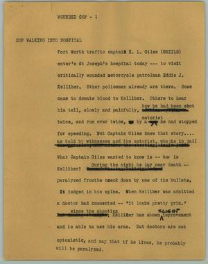 Primary view of object titled '[News Script: Wounded Cop]'.