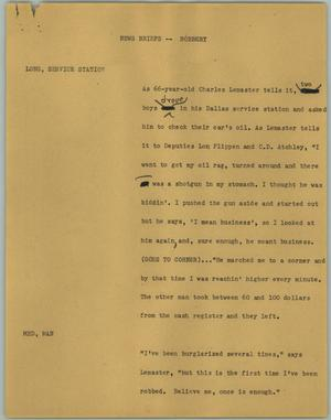 Primary view of object titled '[News Script: News Briefs -- Robbery]'.
