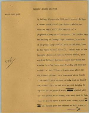 Primary view of object titled '[News Script: Farmer' Branch Shooting]'.