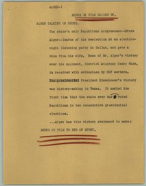 Primary view of object titled '[News Script: Alger]'.
