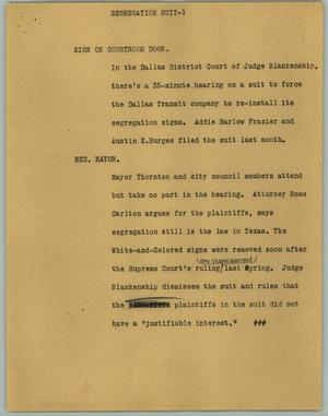 Primary view of object titled '[News Script: Segregation Suit]'.