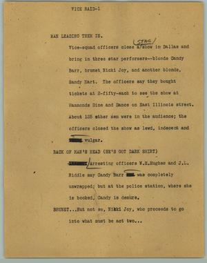 Primary view of object titled '[News Script: Vice Raid]'.