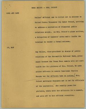 Primary view of object titled '[News Script: News Briefs; Mrs. Priest]'.