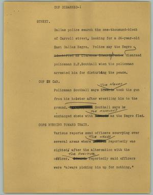 Primary view of object titled '[News Script: Cop disarmed]'.
