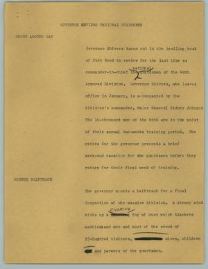 Primary view of object titled '[News Script: Governor Reviews National Guardsmen]'.