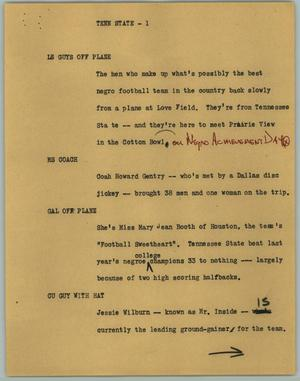 Primary view of object titled '[News Script: Tenn State]'.
