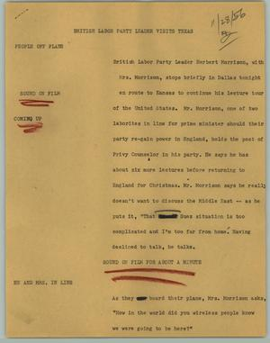 Primary view of object titled '[News Script: British Labor Party Leader Visits Texas]'.