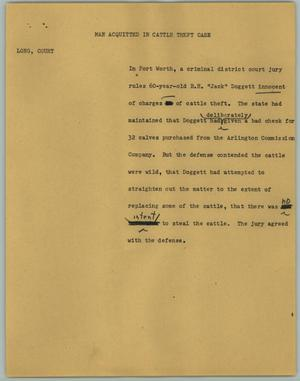 Primary view of object titled '[News Script: Man Acquitted in Cattle Theft Case]'.