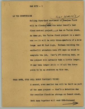 Primary view of object titled '[News Script: Dam Site]'.
