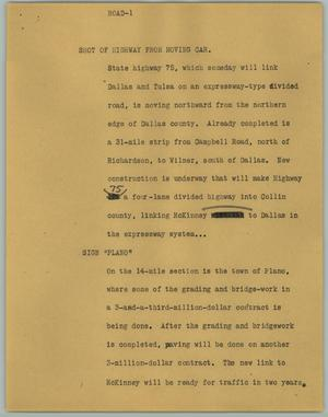 Primary view of object titled '[News Script: Road]'.