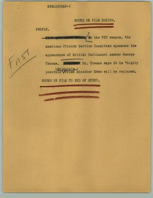 Primary view of object titled '[News Script: Englishman]'.