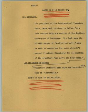 Primary view of object titled '[News Script: Beck]'.