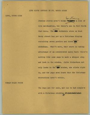 Primary view of object titled '[News Script: Live Gifts Offered by Ft. Worth Store]'.
