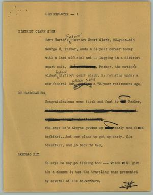 Primary view of object titled '[News Script: Old Employee]'.