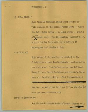 Primary view of object titled '[News Script: Fireworks]'.