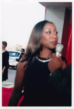 Primary view of object titled '[Oleta Adams Speaking on Red Carpet]'.