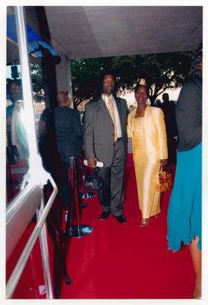 Primary view of object titled '[Timothy and Phyllis Yvonne Stickney on Red Carpet]'.