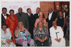 Primary view of object titled '[Albertina Walker, Della Reese, Oleta Adams, and Bills Cobbs with Guests]'.