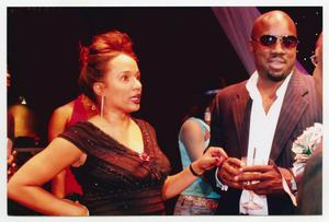 Primary view of object titled '[Ella Joyce and Malik Yoba Conversing]'.