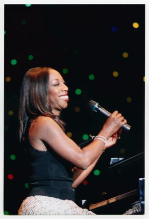 Primary view of object titled '[Oleta Adams Seated at Piano on Stage]'.