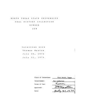 Oral History Interview with Thomas B. Maston, 1974