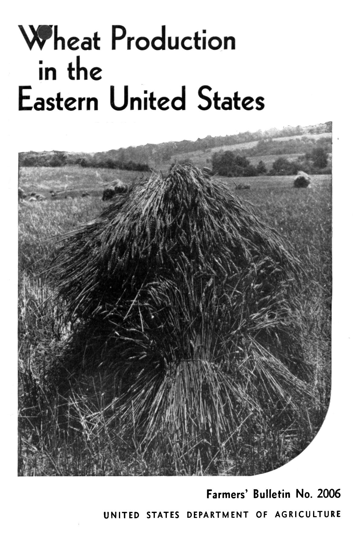 Wheat production in the eastern United States.                                                                                                      Front Cover