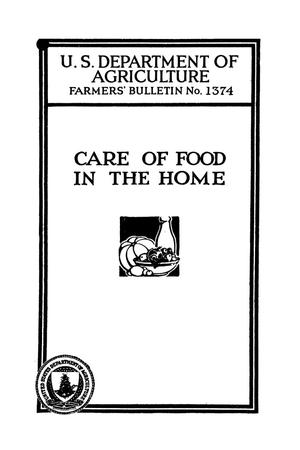 Primary view of object titled 'Care of food in the home.'.