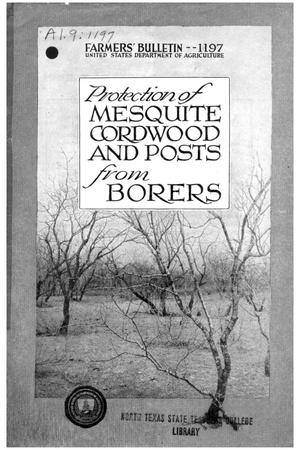 Protection of mesquite cordwood and posts from borers.