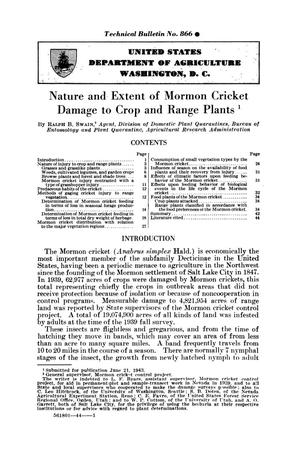 Primary view of object titled 'Nature and extent of mormon cricket damage to crop and range plants.'.