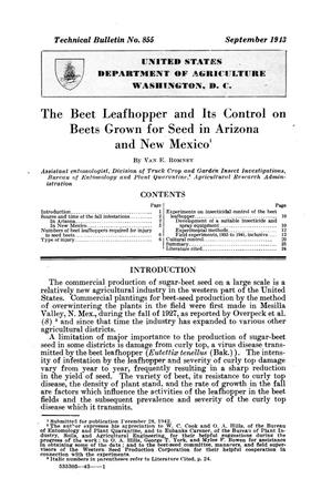 The beet leafhopper and its control on beets grown for seed in Arizona and New Mexico.